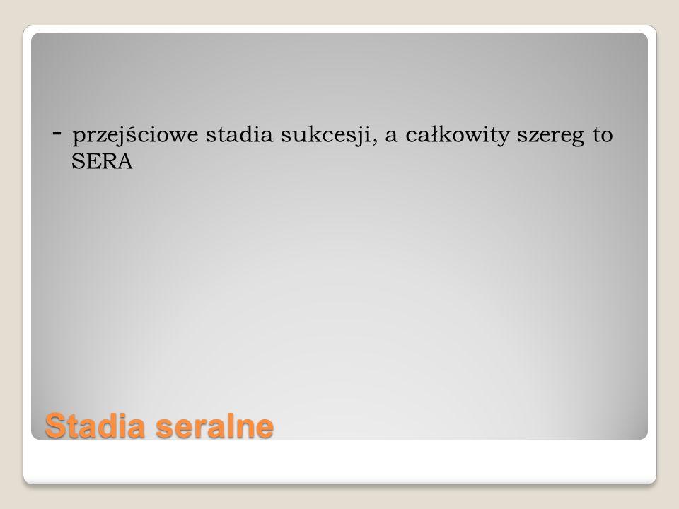 Stadia seralne - przejściowe stadia sukcesji, a całkowity szereg to SERA