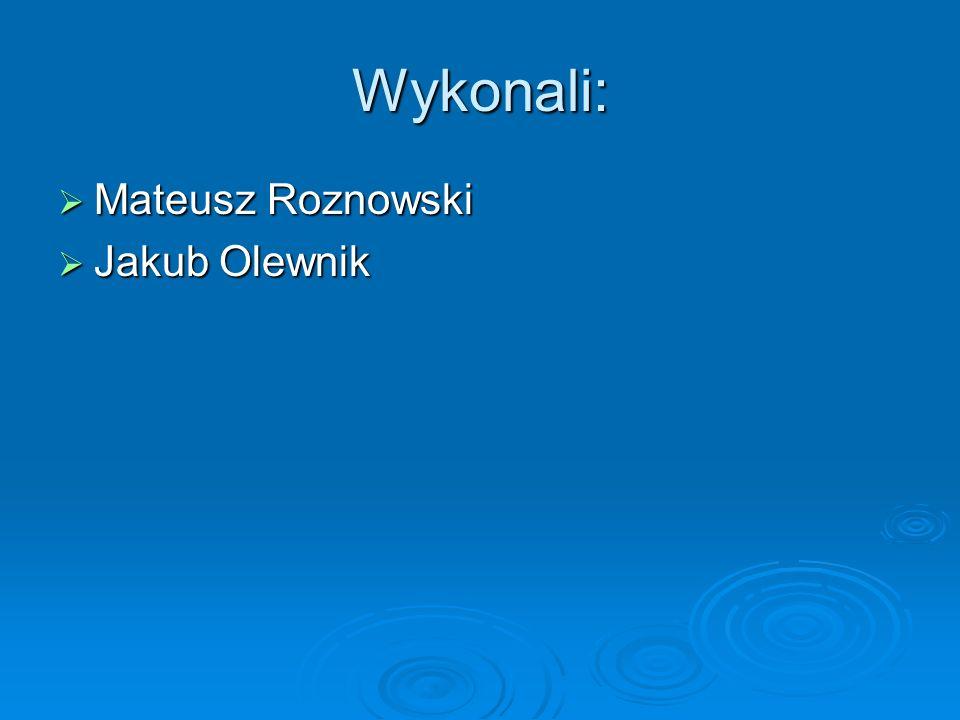 Wykonali: Mateusz Roznowski Mateusz Roznowski Jakub Olewnik Jakub Olewnik