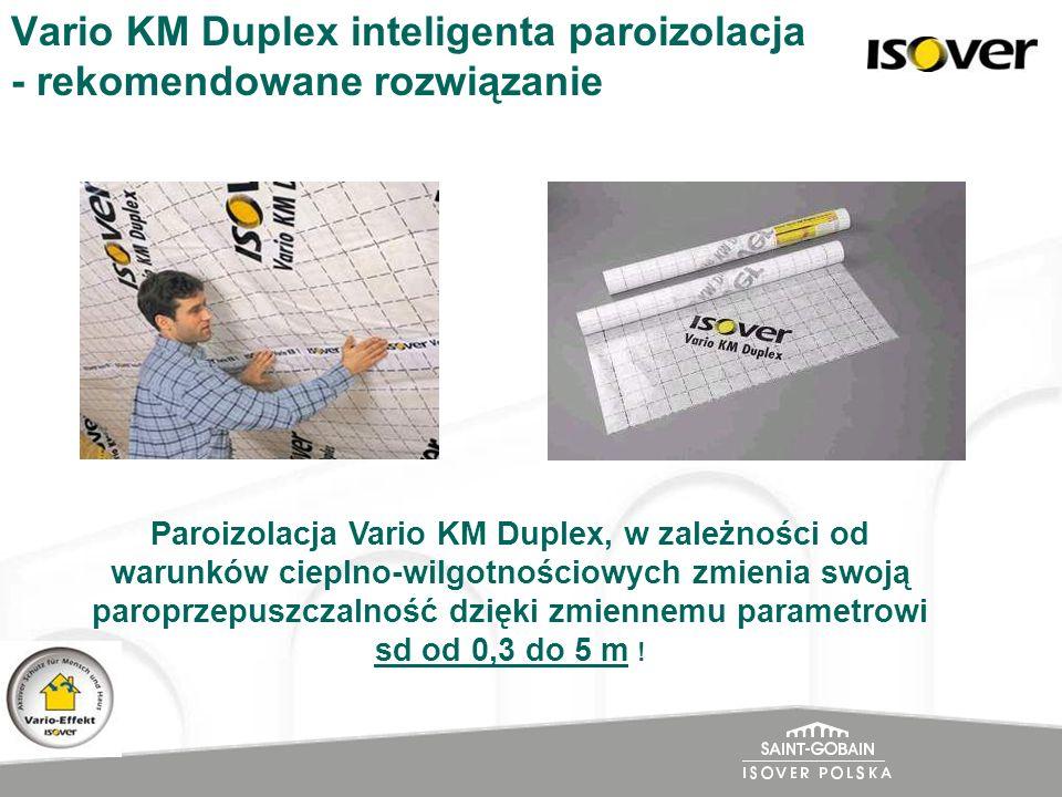 Vario KM Duplex inteligenta paroizolacja - rekomendowane rozwiązanie Paroizolacja Vario KM Duplex, w zależności od warunków cieplno-wilgotnościowych z
