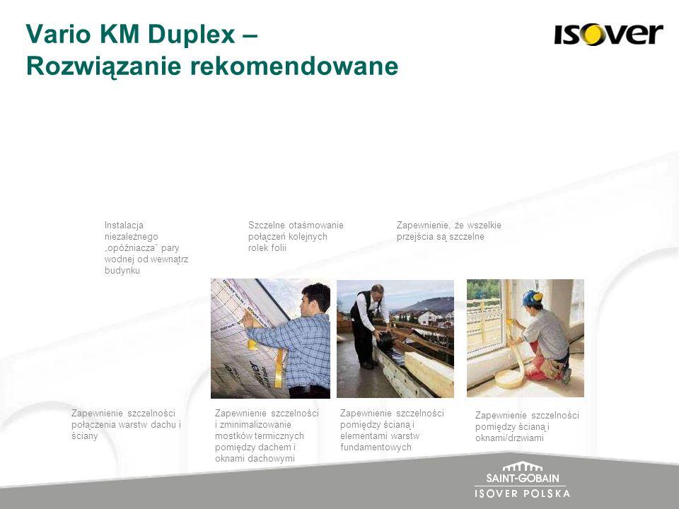 Vario KM Duplex – Rozwiązanie rekomendowane Instalacja niezależnego opóźniacza pary wodnej od wewnątrz budynku Zapewnienie, że wszelkie przejścia są s