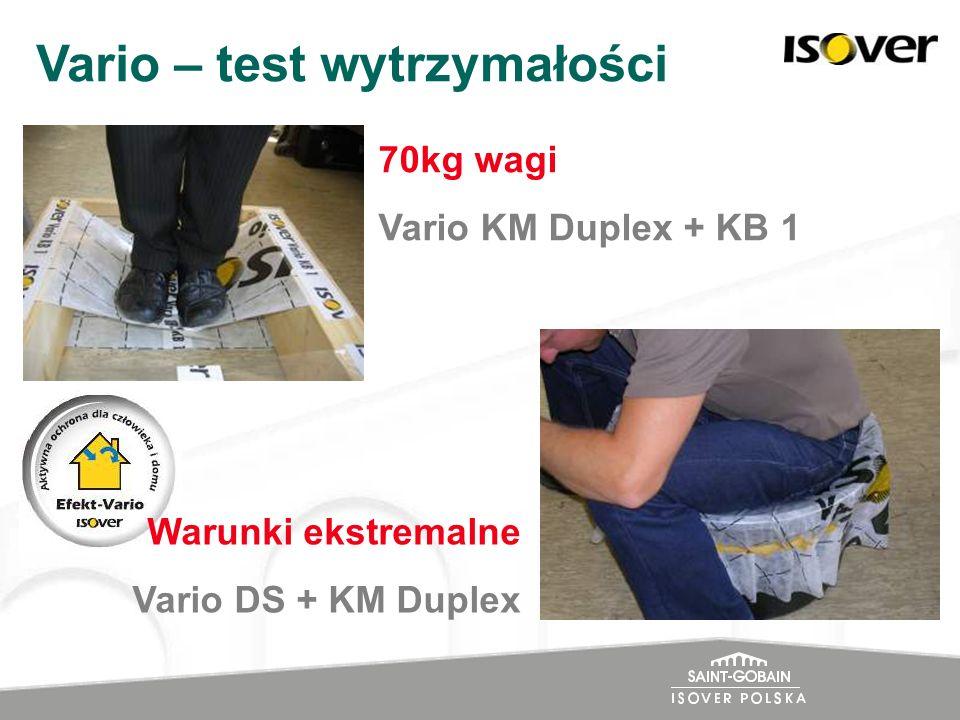 70kg wagi Vario KM Duplex + KB 1 Vario – test wytrzymałości Warunki ekstremalne Vario DS + KM Duplex