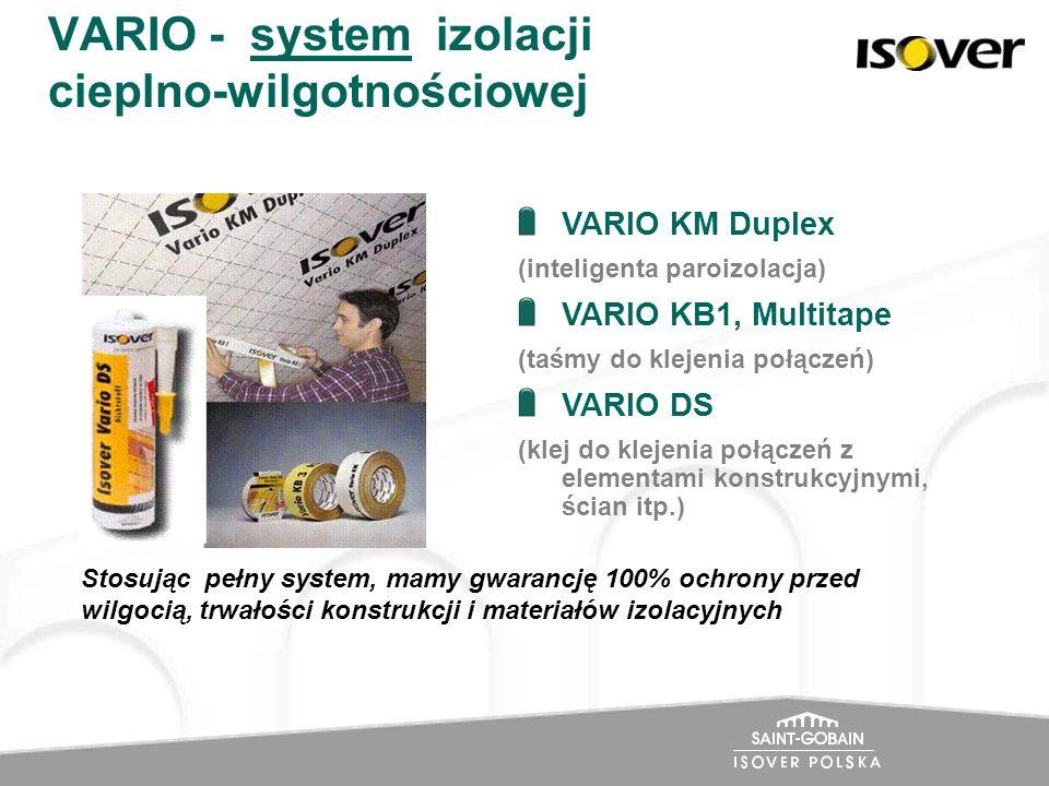 VARIO - system izolacji cieplno-wilgotnościowej VARIO KM Duplex (inteligenta paroizolacja) VARIO KB1, Multitape (taśmy do klejenia połączeń) VARIO DS