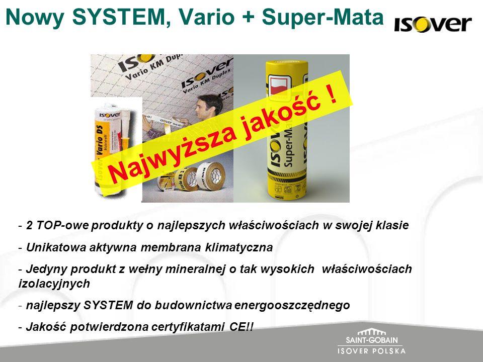 Nowy SYSTEM, Vario + Super-Mata - 2 TOP-owe produkty o najlepszych właściwościach w swojej klasie - Unikatowa aktywna membrana klimatyczna - Jedyny pr