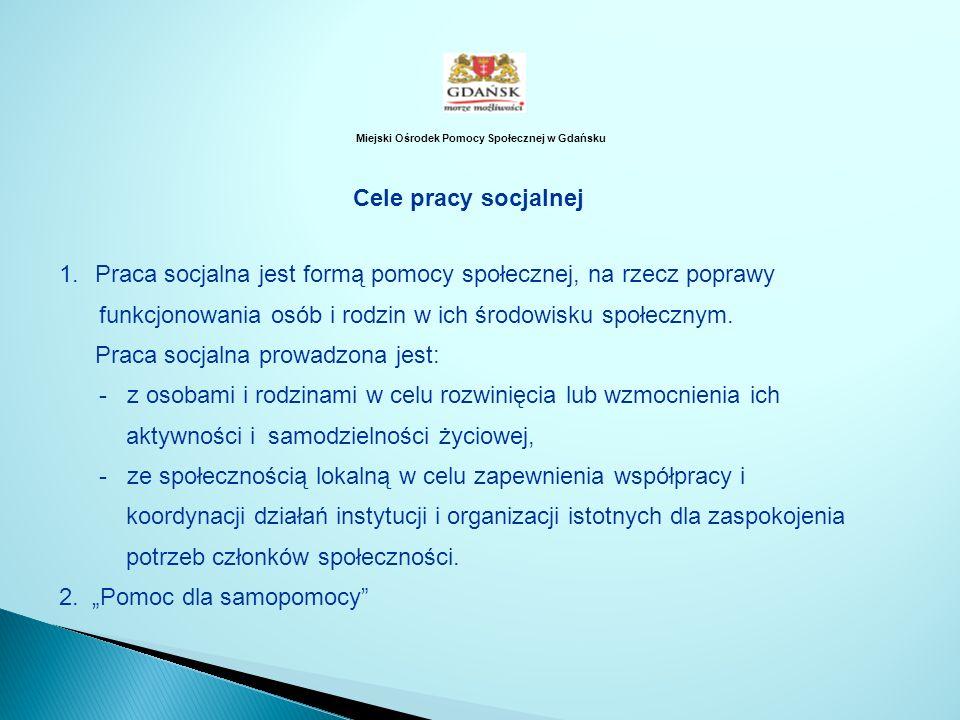 Miejski Ośrodek Pomocy Społecznej w Gdańsku Cele pracy socjalnej 1.Praca socjalna jest formą pomocy społecznej, na rzecz poprawy funkcjonowania osób i