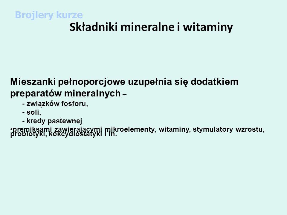 Składniki mineralne i witaminy Mieszanki pełnoporcjowe uzupełnia się dodatkiem preparatów mineralnych – - związków fosforu, - soli, - kredy pastewnej