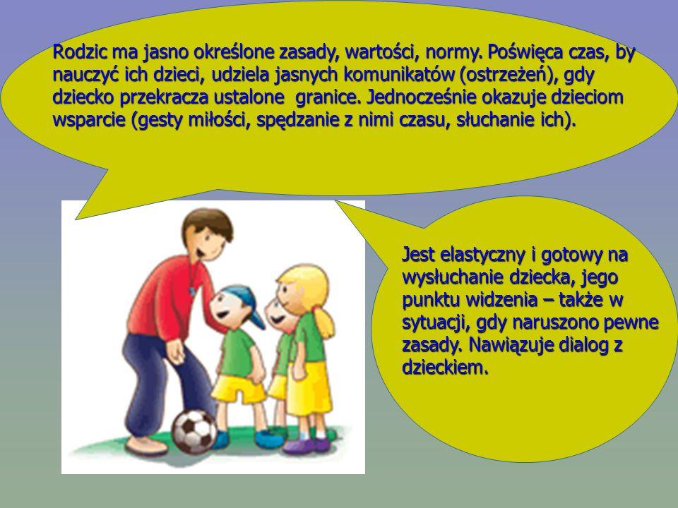 Rodzic ma jasno określone zasady, wartości, normy. Poświęca czas, by nauczyć ich dzieci, udziela jasnych komunikatów (ostrzeżeń), gdy dziecko przekrac