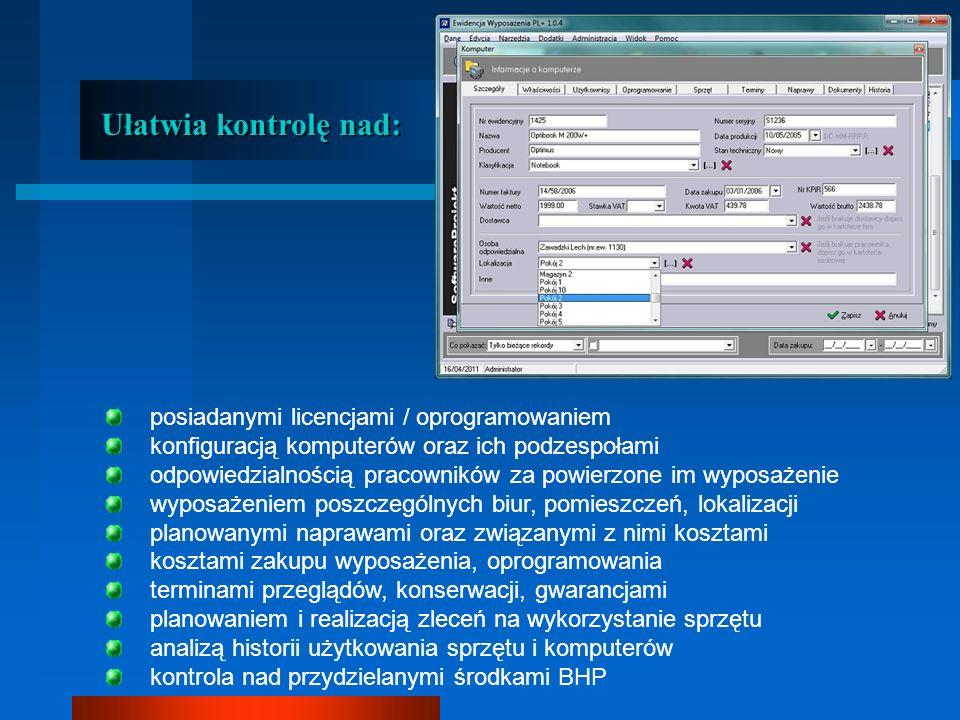 Ułatwia kontrolę nad: posiadanymi licencjami / oprogramowaniem konfiguracją komputerów oraz ich podzespołami odpowiedzialnością pracowników za powierzone im wyposażenie wyposażeniem poszczególnych biur, pomieszczeń, lokalizacji planowanymi naprawami oraz związanymi z nimi kosztami kosztami zakupu wyposażenia, oprogramowania terminami przeglądów, konserwacji, gwarancjami planowaniem i realizacją zleceń na wykorzystanie sprzętu analizą historii użytkowania sprzętu i komputerów kontrola nad przydzielanymi środkami BHP