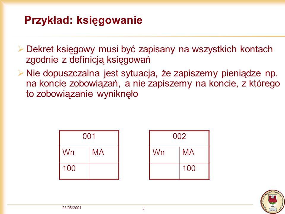 25/08/2001 4 Realizacja Musimy wykonać następujące operacje: INSERT INTO [KONTO]( [KONTO], [WN], [MA]) VALUES( 001 , 100, NULL) INSERT INTO [KONTO]( [KONTO], [WN], [MA]) VALUES( 002 , NULL, 100) Gdyby druga operacja się nie powiodła (na przykład została wyjęta wtyczka komputera), księgowania byłyby błędne.