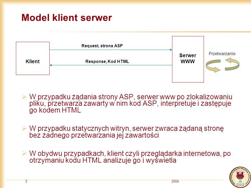 20045 Model klient serwer W przypadku żądania strony ASP, serwer www po zlokalizowaniu pliku, przetwarza zawarty w nim kod ASP, interpretuje i zastępuje go kodem HTML W przypadku statycznych witryn, serwer zwraca żądaną stronę bez żadnego przetwarzania jej zawartości W obydwu przypadkach, klient czyli przeglądarka internetowa, po otrzymaniu kodu HTML analizuje go i wyświetla Klient Serwer WWW Request, strona ASP Response, Kod HTML Przetwarzanie
