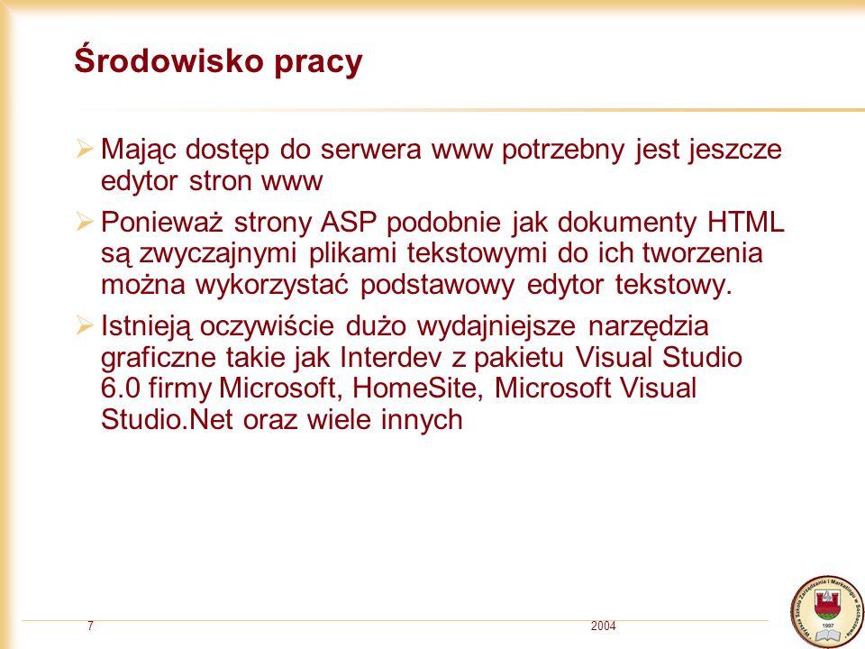 20047 Środowisko pracy Mając dostęp do serwera www potrzebny jest jeszcze edytor stron www Ponieważ strony ASP podobnie jak dokumenty HTML są zwyczajnymi plikami tekstowymi do ich tworzenia można wykorzystać podstawowy edytor tekstowy.