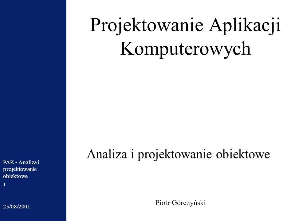 25/08/2001 PAK - Analiza i projektowanie obiektowe 1 Projektowanie Aplikacji Komputerowych Piotr Górczyński Analiza i projektowanie obiektowe
