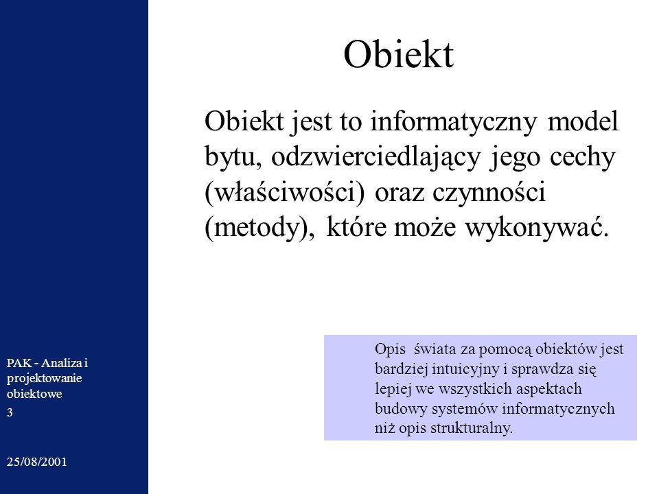 25/08/2001 PAK - Analiza i projektowanie obiektowe 3 Obiekt Obiekt jest to informatyczny model bytu, odzwierciedlający jego cechy (właściwości) oraz c