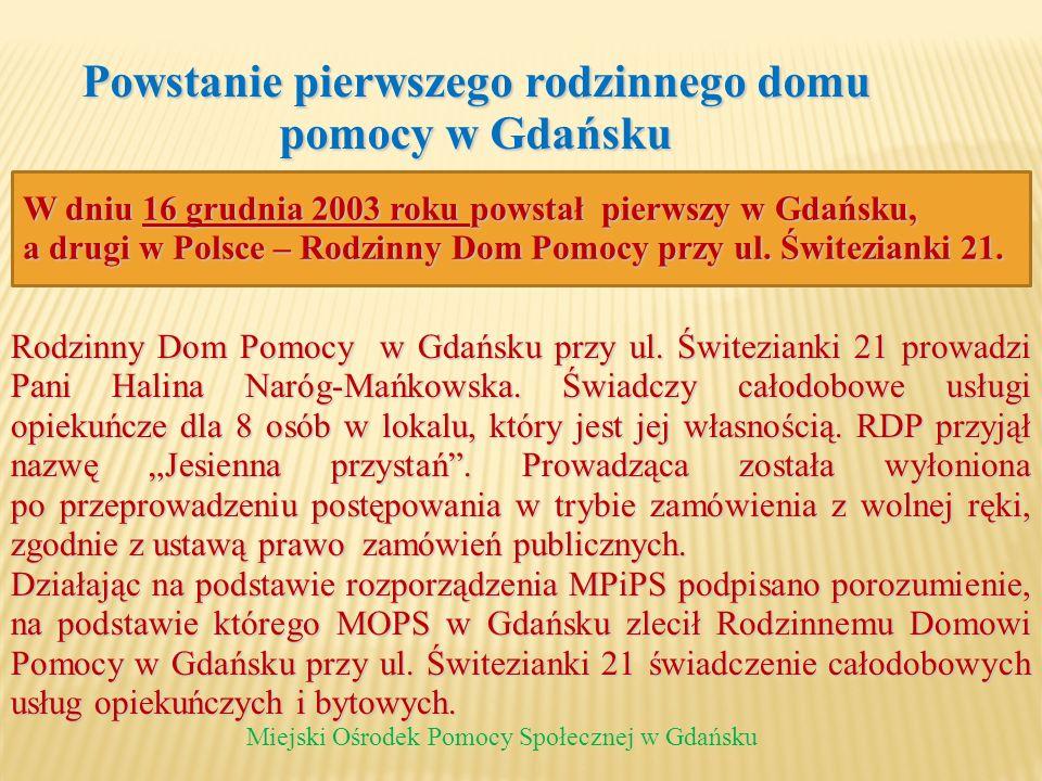 Powstanie pierwszego rodzinnego domu pomocy w Gdańsku Miejski Ośrodek Pomocy Społecznej w Gdańsku Rodzinny Dom Pomocy w Gdańsku przy ul. Świtezianki 2