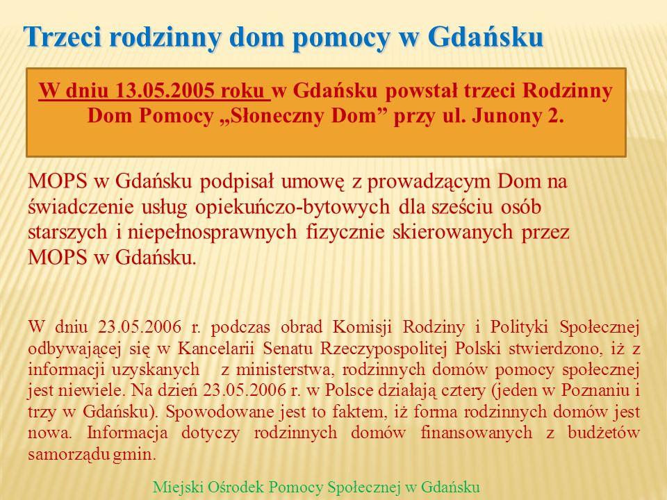 Trzeci rodzinny dom pomocy w Gdańsku Miejski Ośrodek Pomocy Społecznej w Gdańsku MOPS w Gdańsku podpisał umowę z prowadzącym Dom na świadczenie usług