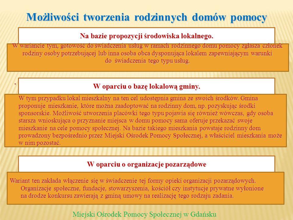 Możliwości tworzenia rodzinnych domów pomocy. Miejski Ośrodek Pomocy Społecznej w Gdańsku Na bazie propozycji środowiska lokalnego. W wariancie tym, g