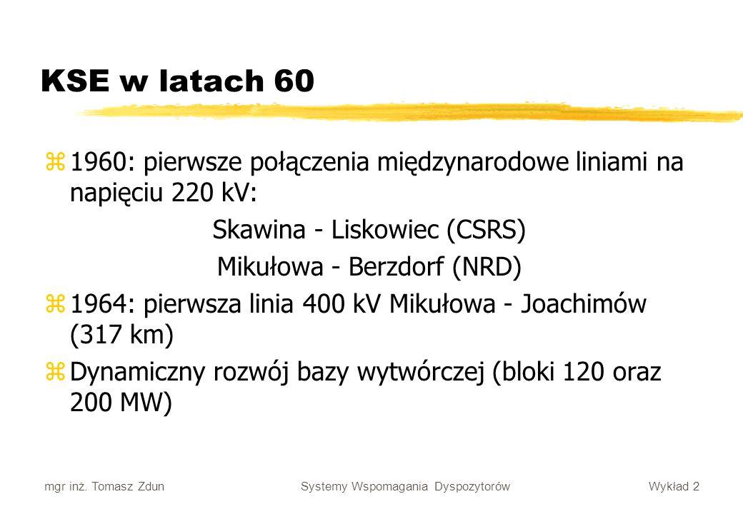 Wykład 2 Systemy Wspomagania Dyspozytorów mgr inż. Tomasz Zdun z1960: pierwsze połączenia międzynarodowe liniami na napięciu 220 kV: Skawina - Liskowi