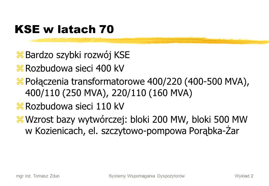 Wykład 2 Systemy Wspomagania Dyspozytorów mgr inż. Tomasz Zdun KSE w latach 70 zBardzo szybki rozwój KSE zRozbudowa sieci 400 kV zPołączenia transform
