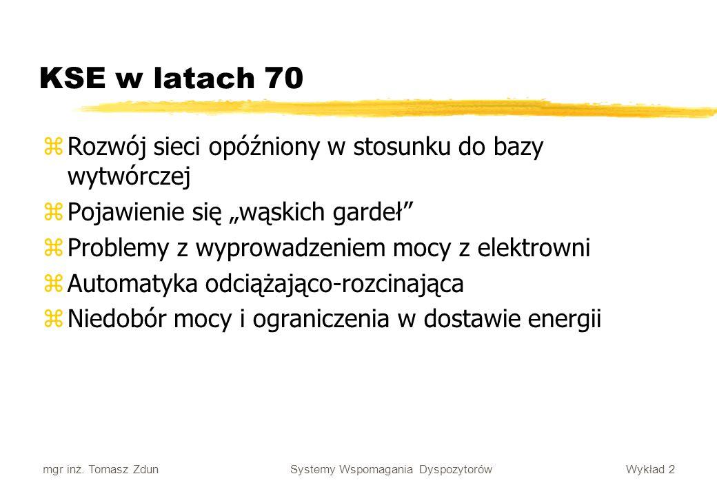 Wykład 2 Systemy Wspomagania Dyspozytorów mgr inż. Tomasz Zdun KSE w latach 70 zRozwój sieci opóźniony w stosunku do bazy wytwórczej zPojawienie się w