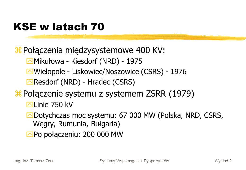 Wykład 2 Systemy Wspomagania Dyspozytorów mgr inż. Tomasz Zdun KSE w latach 70 zPołączenia międzysystemowe 400 KV: yMikułowa - Kiesdorf (NRD) - 1975 y