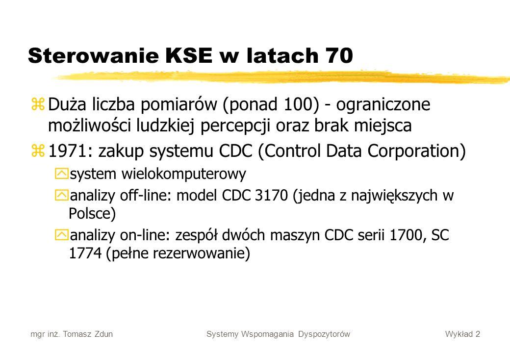 Wykład 2 Systemy Wspomagania Dyspozytorów mgr inż. Tomasz Zdun Sterowanie KSE w latach 70 zDuża liczba pomiarów (ponad 100) - ograniczone możliwości l
