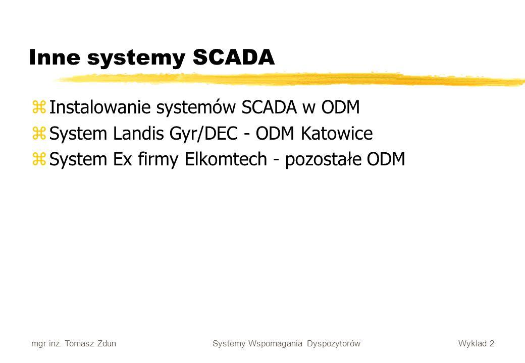 Wykład 2 Systemy Wspomagania Dyspozytorów mgr inż. Tomasz Zdun Inne systemy SCADA zInstalowanie systemów SCADA w ODM zSystem Landis Gyr/DEC - ODM Kato