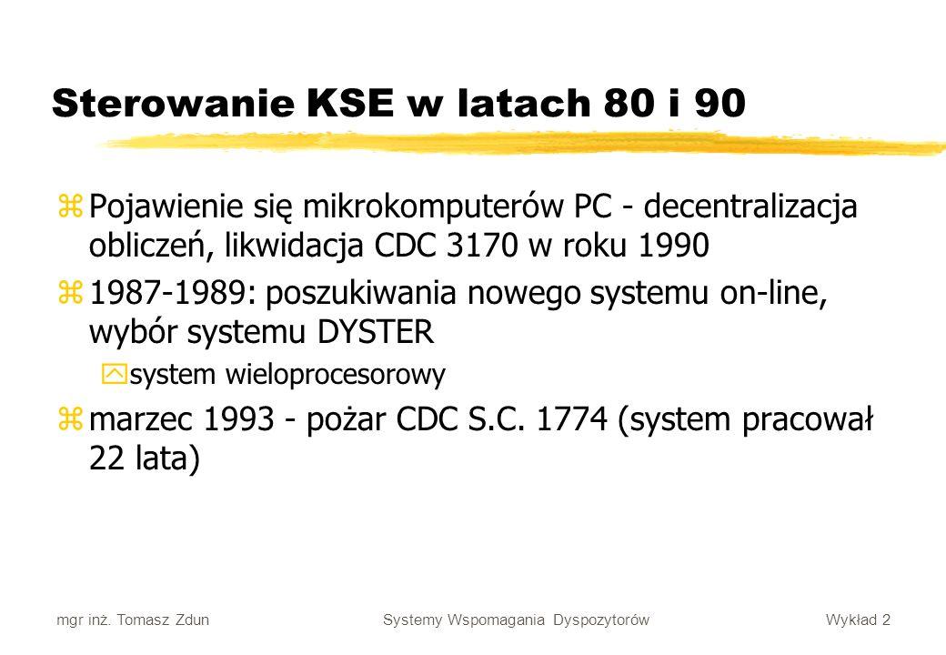 Wykład 2 Systemy Wspomagania Dyspozytorów mgr inż. Tomasz Zdun Sterowanie KSE w latach 80 i 90 zPojawienie się mikrokomputerów PC - decentralizacja ob