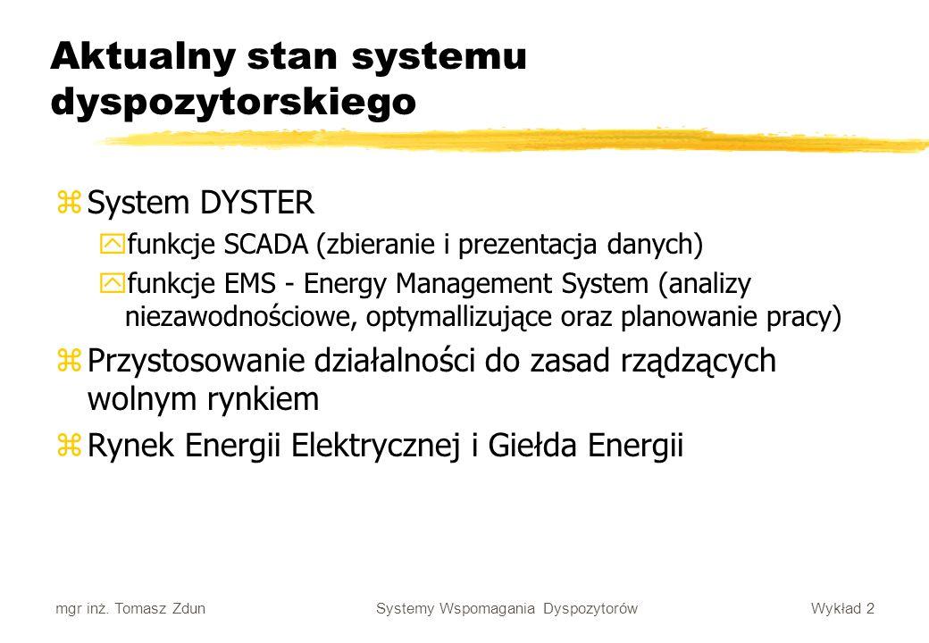 Wykład 2 Systemy Wspomagania Dyspozytorów mgr inż. Tomasz Zdun Aktualny stan systemu dyspozytorskiego zSystem DYSTER yfunkcje SCADA (zbieranie i preze