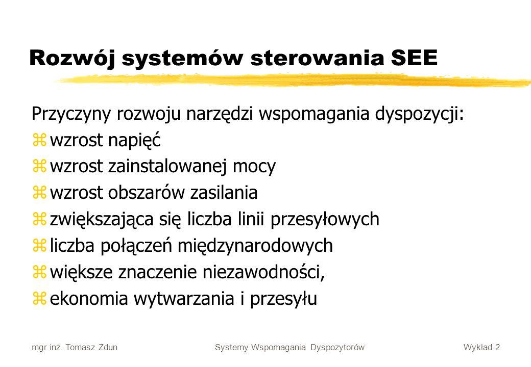 Wykład 2 Systemy Wspomagania Dyspozytorów mgr inż. Tomasz Zdun Rozwój systemów sterowania SEE Przyczyny rozwoju narzędzi wspomagania dyspozycji: zwzro