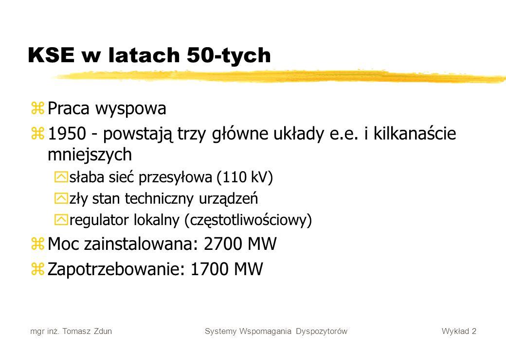 Wykład 2 Systemy Wspomagania Dyspozytorów mgr inż. Tomasz Zdun KSE w latach 50-tych zPraca wyspowa z1950 - powstają trzy główne układy e.e. i kilkanaś