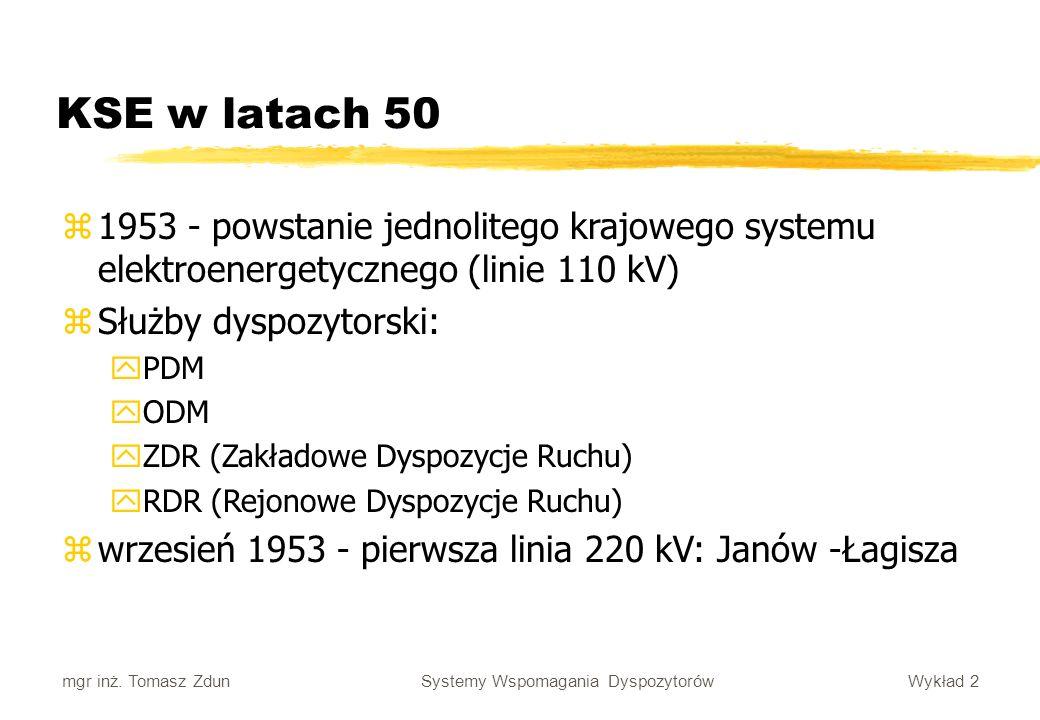 Wykład 2 Systemy Wspomagania Dyspozytorów mgr inż. Tomasz Zdun KSE w latach 50 z1953 - powstanie jednolitego krajowego systemu elektroenergetycznego (