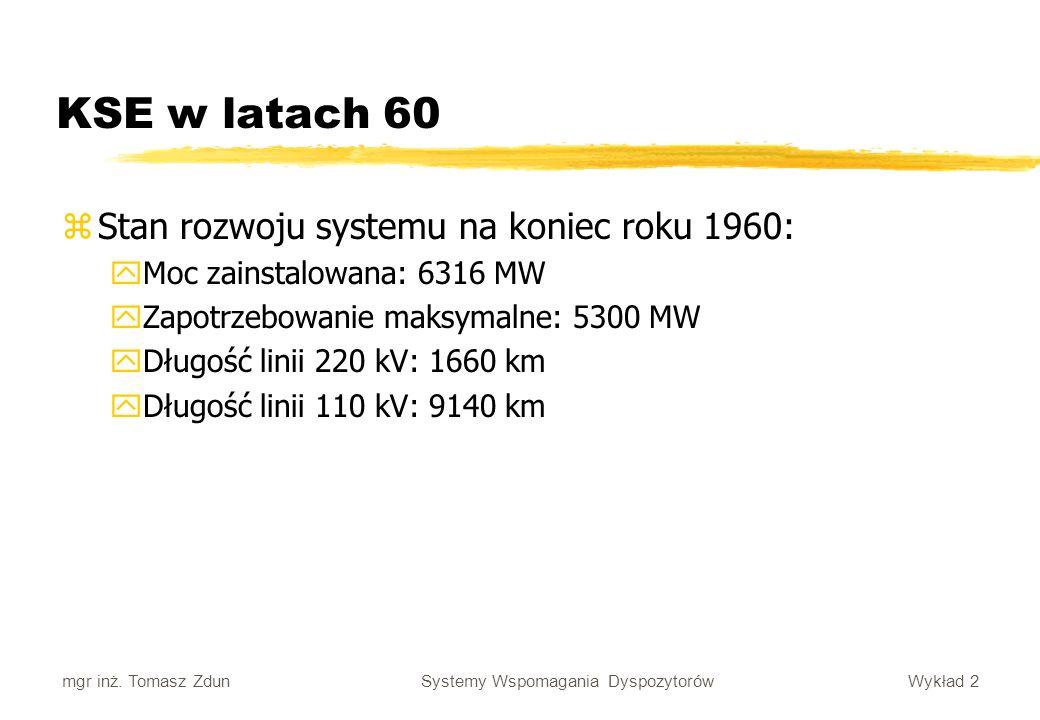 Wykład 2 Systemy Wspomagania Dyspozytorów mgr inż. Tomasz Zdun zStan rozwoju systemu na koniec roku 1960: yMoc zainstalowana: 6316 MW yZapotrzebowanie
