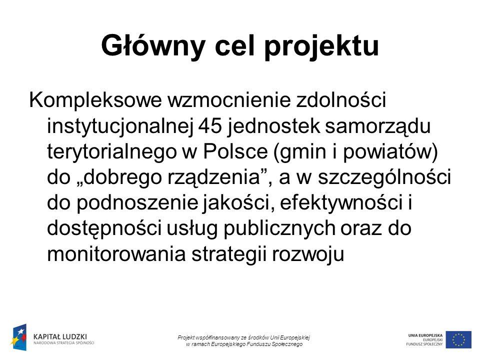 2 Główny cel projektu Kompleksowe wzmocnienie zdolności instytucjonalnej 45 jednostek samorządu terytorialnego w Polsce (gmin i powiatów) do dobrego r