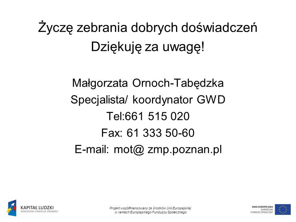 24 Życzę zebrania dobrych doświadczeń Dziękuję za uwagę! Małgorzata Ornoch-Tabędzka Specjalista/ koordynator GWD Tel:661 515 020 Fax: 61 333 50-60 E-m