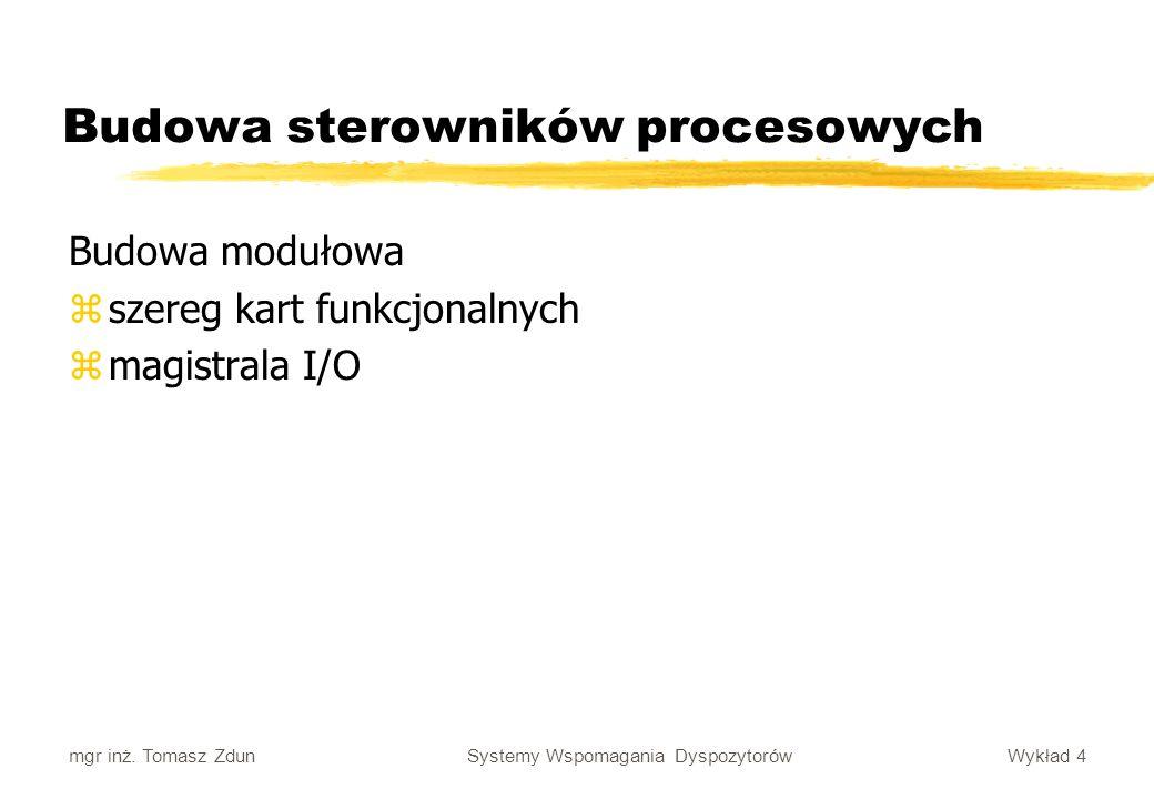 Wykład 4 Systemy Wspomagania Dyspozytorów mgr inż. Tomasz Zdun Budowa sterowników procesowych Budowa modułowa zszereg kart funkcjonalnych zmagistrala
