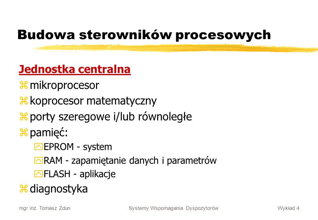 Wykład 4 Systemy Wspomagania Dyspozytorów mgr inż. Tomasz Zdun Budowa sterowników procesowych Jednostka centralna zmikroprocesor zkoprocesor matematyc