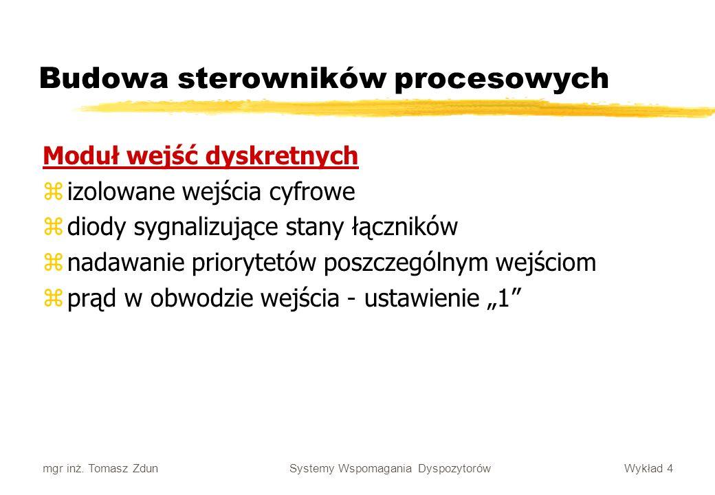 Wykład 4 Systemy Wspomagania Dyspozytorów mgr inż. Tomasz Zdun Budowa sterowników procesowych Moduł wejść dyskretnych zizolowane wejścia cyfrowe zdiod