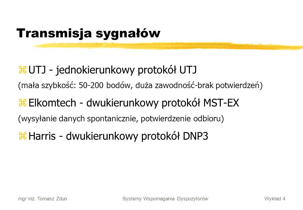 Wykład 4 Systemy Wspomagania Dyspozytorów mgr inż. Tomasz Zdun Transmisja sygnałów zUTJ - jednokierunkowy protokół UTJ (mała szybkość: 50-200 bodów, d