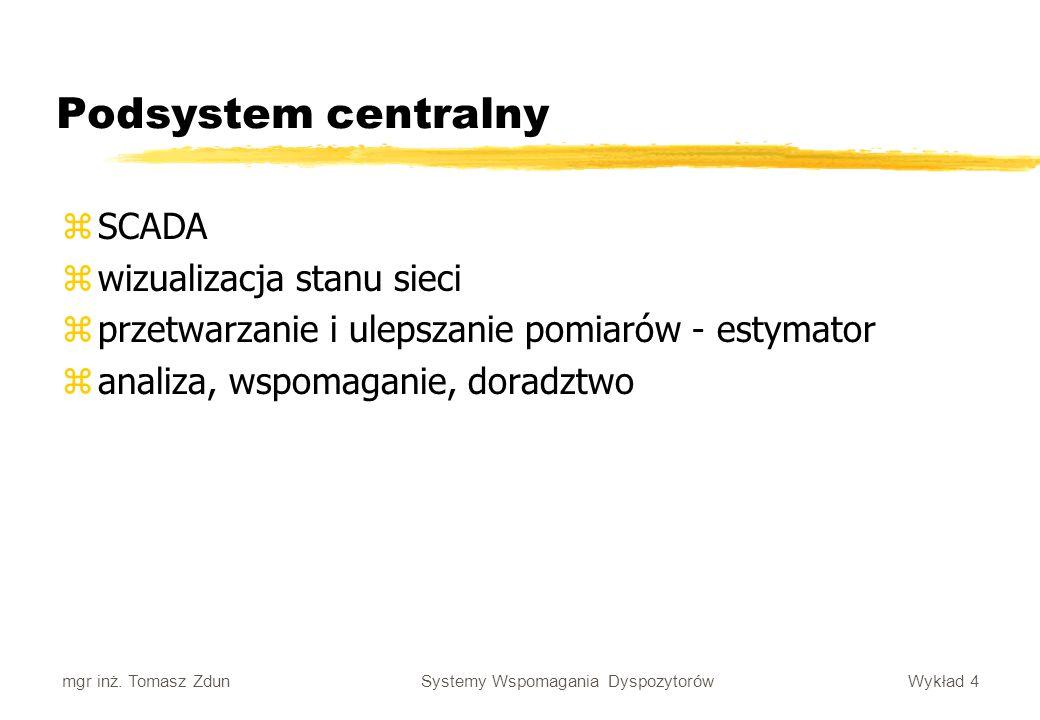 Wykład 4 Systemy Wspomagania Dyspozytorów mgr inż. Tomasz Zdun Podsystem centralny zSCADA zwizualizacja stanu sieci zprzetwarzanie i ulepszanie pomiar