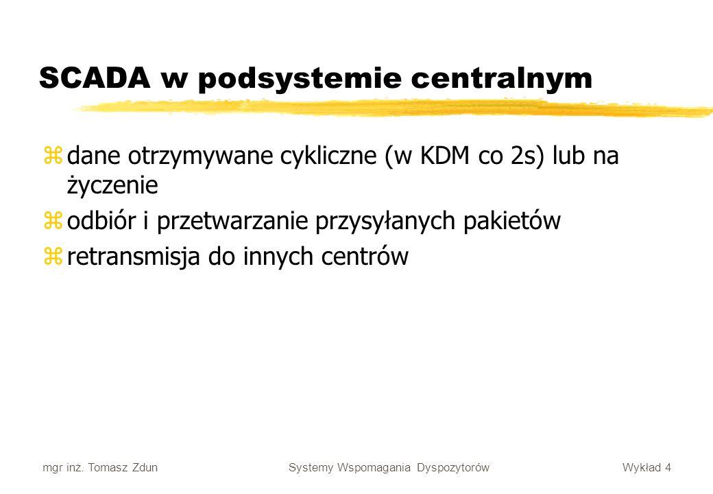 Wykład 4 Systemy Wspomagania Dyspozytorów mgr inż. Tomasz Zdun SCADA w podsystemie centralnym zdane otrzymywane cykliczne (w KDM co 2s) lub na życzeni