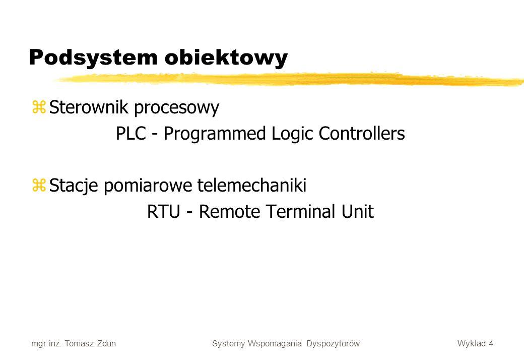 Wykład 4 Systemy Wspomagania Dyspozytorów mgr inż. Tomasz Zdun Podsystem obiektowy zSterownik procesowy PLC - Programmed Logic Controllers zStacje pom