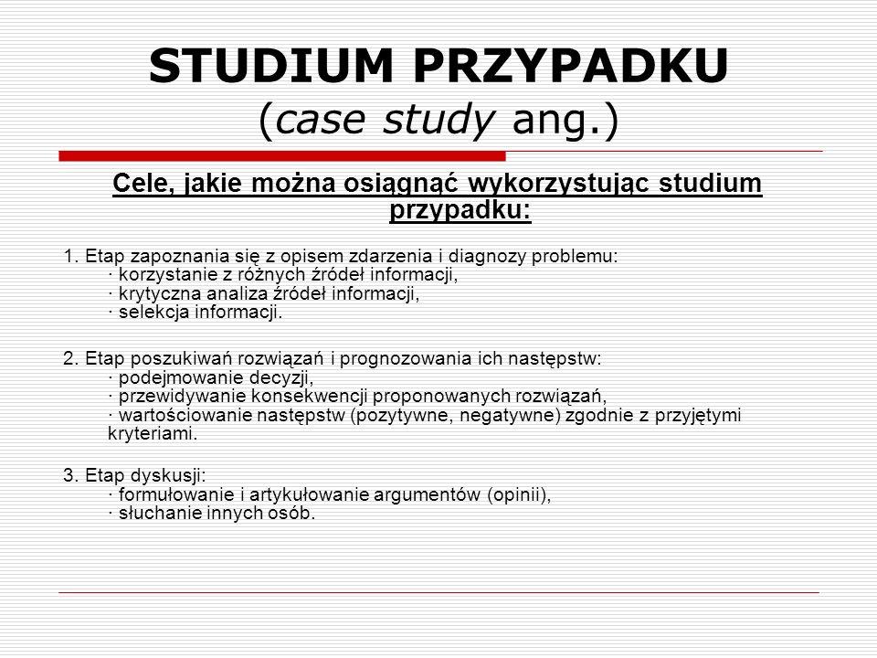 Cele, jakie można osiągnąć wykorzystując studium przypadku: 1. Etap zapoznania się z opisem zdarzenia i diagnozy problemu: · korzystanie z różnych źró