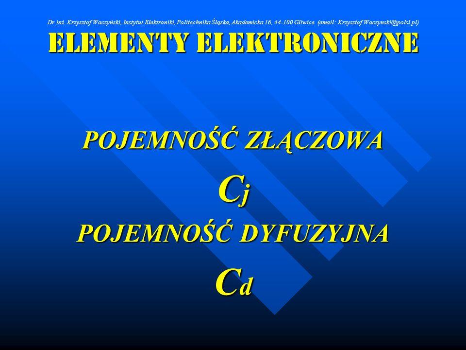 Elementy Elektroniczne POJEMNOŚĆ ZŁĄCZOWA C j POJEMNOŚĆ DYFUZYJNA C d Dr inż. Krzysztof Waczyński, Instytut Elektroniki, Politechnika Śląska, Akademic