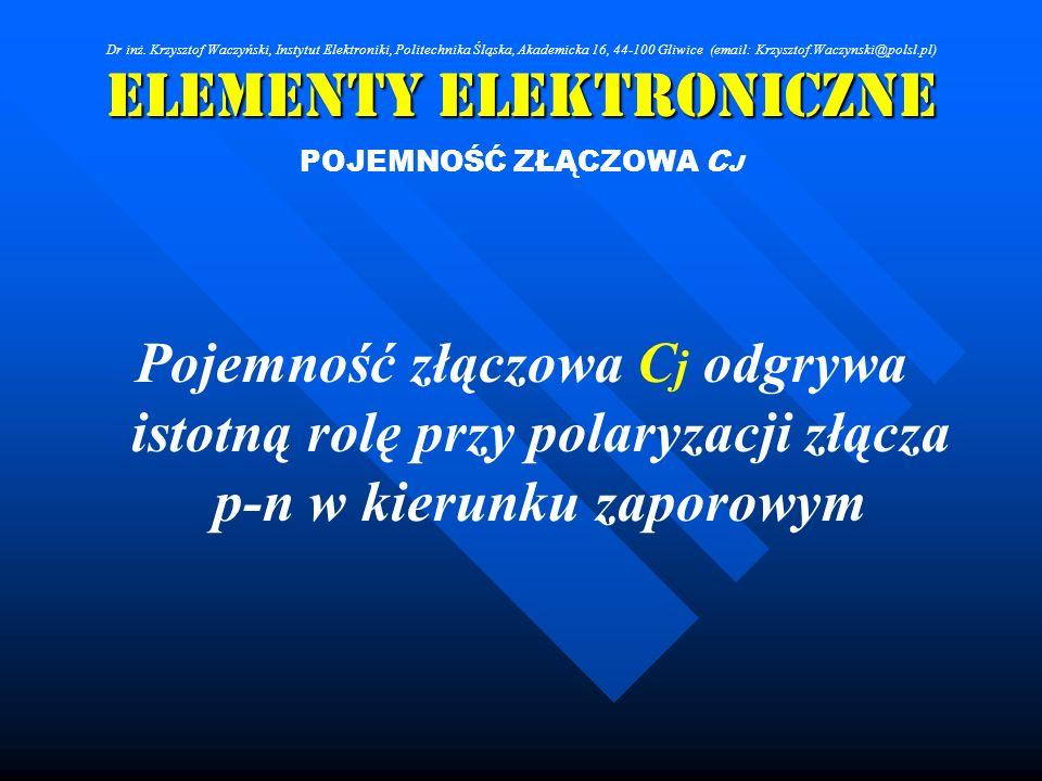 Elementy Elektroniczne POJEMNOŚĆ ZŁĄCZOWA C J Pojemność złączowa C j odgrywa istotną rolę przy polaryzacji złącza p-n w kierunku zaporowym Dr inż. Krz