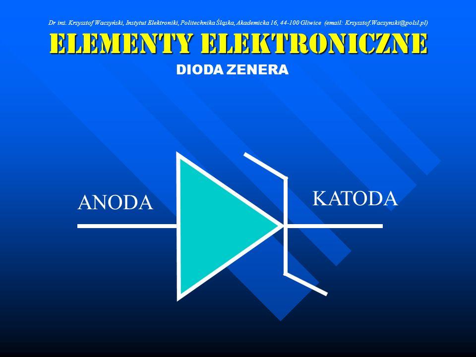 Elementy Elektroniczne ANODA KATODA DIODA ZENERA Dr inż. Krzysztof Waczyński, Instytut Elektroniki, Politechnika Śląska, Akademicka 16, 44-100 Gliwice