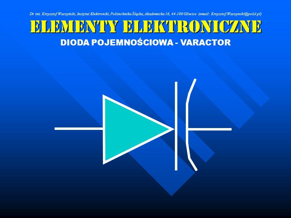Elementy Elektroniczne DIODA POJEMNOŚCIOWA - VARACTOR Dr inż. Krzysztof Waczyński, Instytut Elektroniki, Politechnika Śląska, Akademicka 16, 44-100 Gl