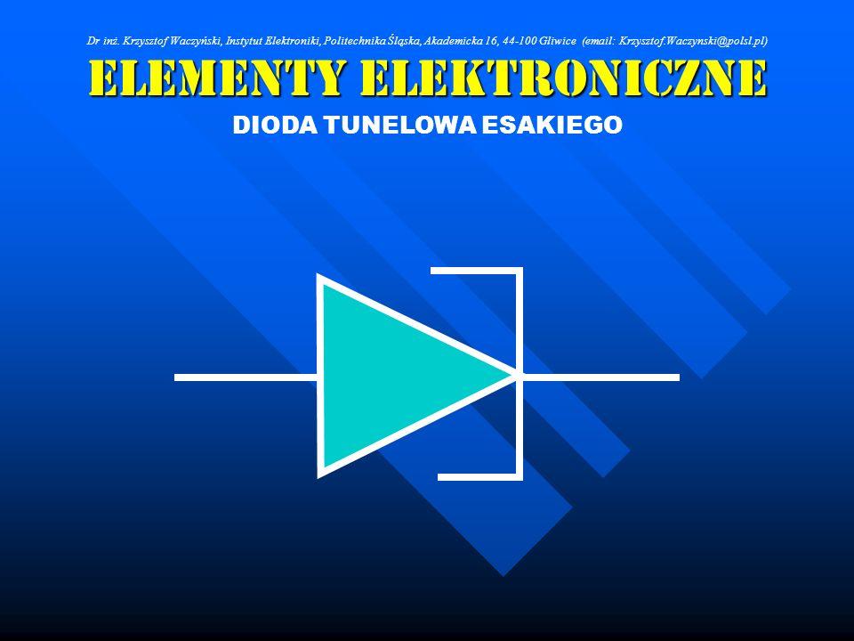Elementy Elektroniczne DIODA TUNELOWA ESAKIEGO Dr inż. Krzysztof Waczyński, Instytut Elektroniki, Politechnika Śląska, Akademicka 16, 44-100 Gliwice (