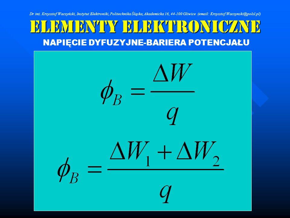 Elementy Elektroniczne NAPIĘCIE DYFUZYJNE-BARIERA POTENCJAŁU Dr inż. Krzysztof Waczyński, Instytut Elektroniki, Politechnika Śląska, Akademicka 16, 44
