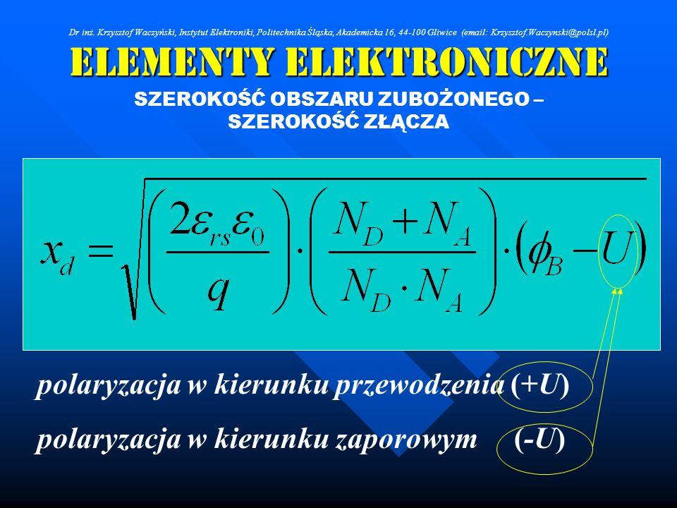 Elementy Elektroniczne SZEROKOŚĆ OBSZARU ZUBOŻONEGO – SZEROKOŚĆ ZŁĄCZA polaryzacja w kierunku przewodzenia (+U) polaryzacja w kierunku zaporowym (-U)