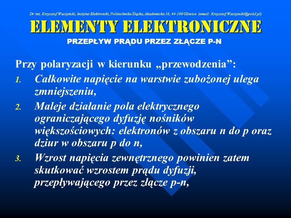 Elementy Elektroniczne PRZEPŁYW PRĄDU PRZEZ ZŁĄCZE P-N Przy polaryzacji w kierunku przewodzenia: 1. 1. Całkowite napięcie na warstwie zubożonej ulega
