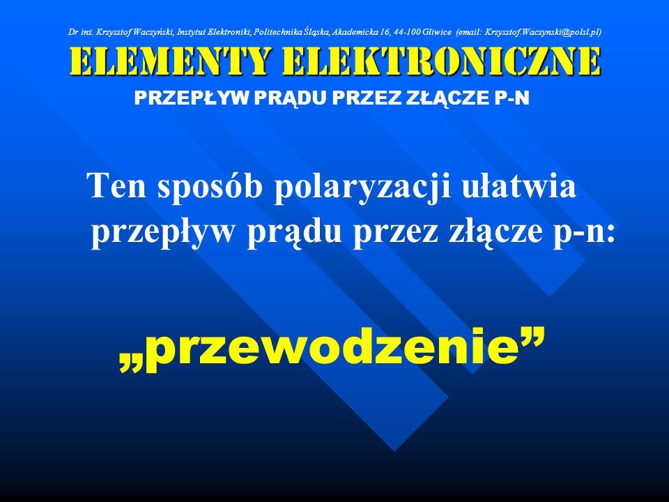 Elementy Elektroniczne PRZEPŁYW PRĄDU PRZEZ ZŁĄCZE P-N Ten sposób polaryzacji ułatwia przepływ prądu przez złącze p-n: przewodzenie Dr inż. Krzysztof